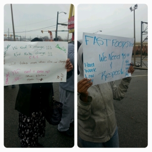 There were many hand made signs reflecting the passionate thoughts and feelings of fast food workers on strike.