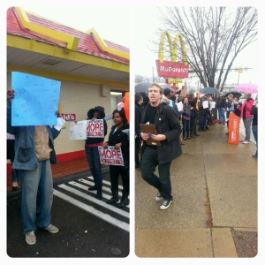 At the McDonald's people energetically chanted to demand $15 an hour. The rain didn't  dampen spirits.
